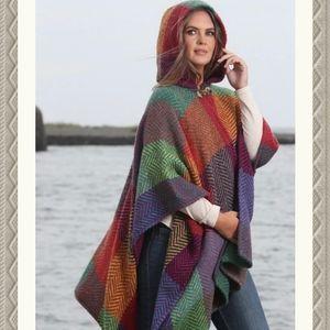 Aran Sweater Market Wool Hooded Poncho Rainbow